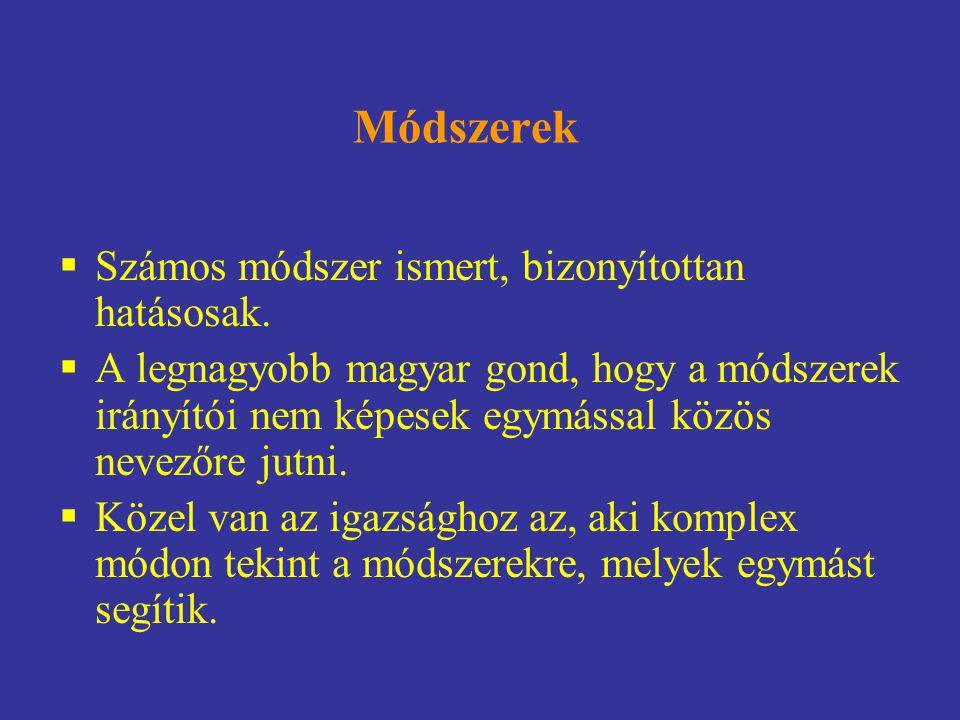 Módszerek  Számos módszer ismert, bizonyítottan hatásosak.  A legnagyobb magyar gond, hogy a módszerek irányítói nem képesek egymással közös nevezőr