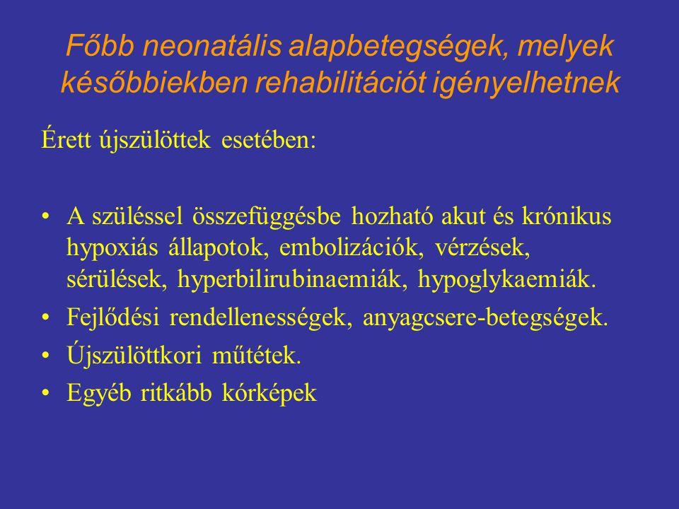 Főbb neonatális alapbetegségek, melyek későbbiekben rehabilitációt igényelhetnek Koraszülöttek esetében: Központi idegrendszeri betegségek, vérzések, leukomaláciák, cerebrális bénulások, minimál cerebrál léziók.