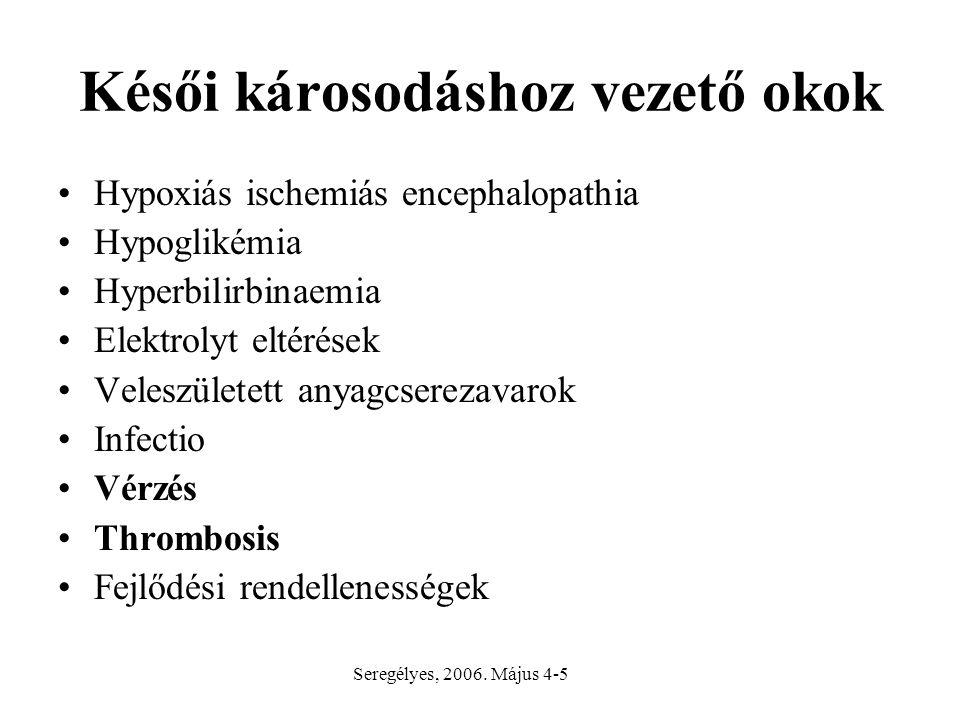 Késői károsodáshoz vezető okok Hypoxiás ischemiás encephalopathia Hypoglikémia Hyperbilirbinaemia Elektrolyt eltérések Veleszületett anyagcserezavarok Infectio Vérzés Thrombosis Fejlődési rendellenességek Seregélyes, 2006.