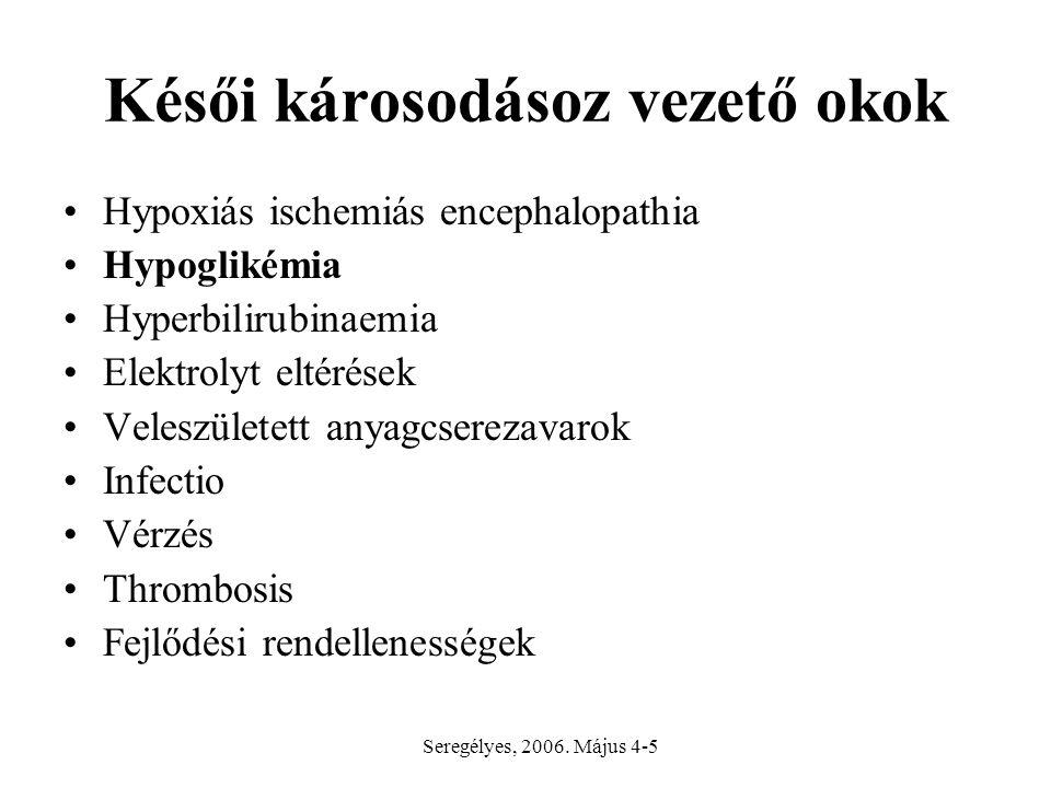 Késői károsodásoz vezető okok Hypoxiás ischemiás encephalopathia Hypoglikémia Hyperbilirubinaemia Elektrolyt eltérések Veleszületett anyagcserezavarok Infectio Vérzés Thrombosis Fejlődési rendellenességek Seregélyes, 2006.