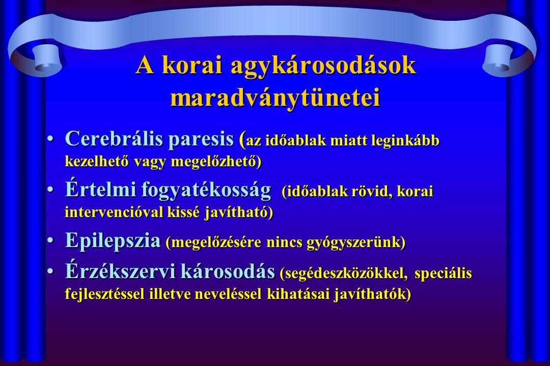 A korai agykárosodások maradványtünetei Cerebrális paresis ( az időablak miatt leginkább kezelhető vagy megelőzhető)Cerebrális paresis ( az időablak miatt leginkább kezelhető vagy megelőzhető) Értelmi fogyatékosság (időablak rövid, korai intervencióval kissé javítható)Értelmi fogyatékosság (időablak rövid, korai intervencióval kissé javítható) Epilepszia (megelőzésére nincs gyógyszerünk)Epilepszia (megelőzésére nincs gyógyszerünk) Érzékszervi károsodás (segédeszközökkel, speciális fejlesztéssel illetve neveléssel kihatásai javíthatók)Érzékszervi károsodás (segédeszközökkel, speciális fejlesztéssel illetve neveléssel kihatásai javíthatók)