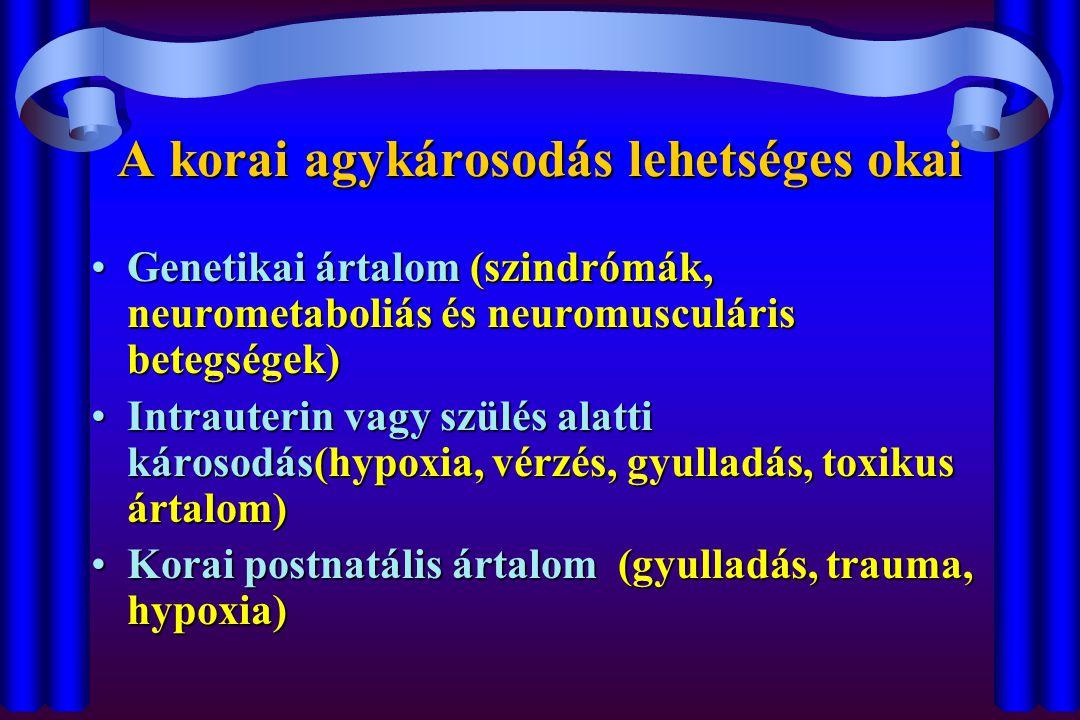 A korai agykárosodás lehetséges okai Genetikai ártalom (szindrómák, neurometaboliás és neuromusculáris betegségek)Genetikai ártalom (szindrómák, neurometaboliás és neuromusculáris betegségek) Intrauterin vagy szülés alatti károsodás(hypoxia, vérzés, gyulladás, toxikus ártalom)Intrauterin vagy szülés alatti károsodás(hypoxia, vérzés, gyulladás, toxikus ártalom) Korai postnatális ártalom (gyulladás, trauma, hypoxia)Korai postnatális ártalom (gyulladás, trauma, hypoxia)