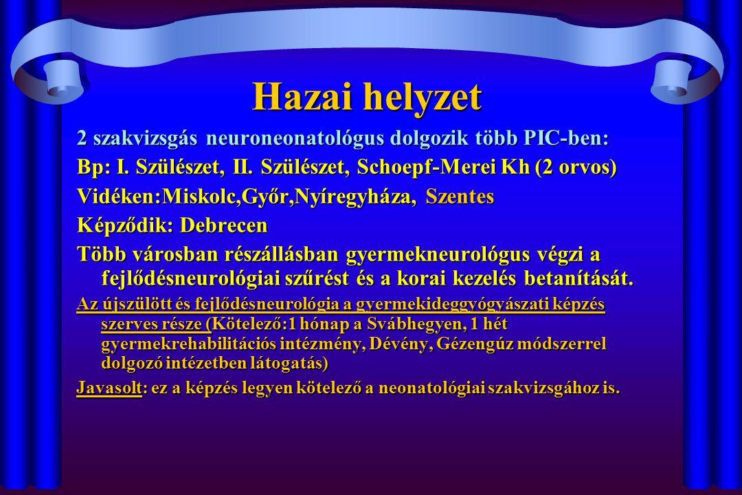 Az acut perinatalis encephalopathia felismerésének eszközei Rizikó faktorok mérlegeléseRizikó faktorok mérlegelése Klinikai kép (vitális funkciók, izomtónus, reflexek és reakciók, görcsölés, dysmorphia )Klinikai kép (vitális funkciók, izomtónus, reflexek és reakciók, görcsölés, dysmorphia ) Korai UH ( minden neonatológus kiképezendő az újszülöttneurológiai kórképek ágymelletti felismerésére !)Korai UH ( minden neonatológus kiképezendő az újszülöttneurológiai kórképek ágymelletti felismerésére !) Laboratóriumi vizsgálatokLaboratóriumi vizsgálatok Elektrofiziológia (aEEG, EEG, BAEP)Elektrofiziológia (aEEG, EEG, BAEP)