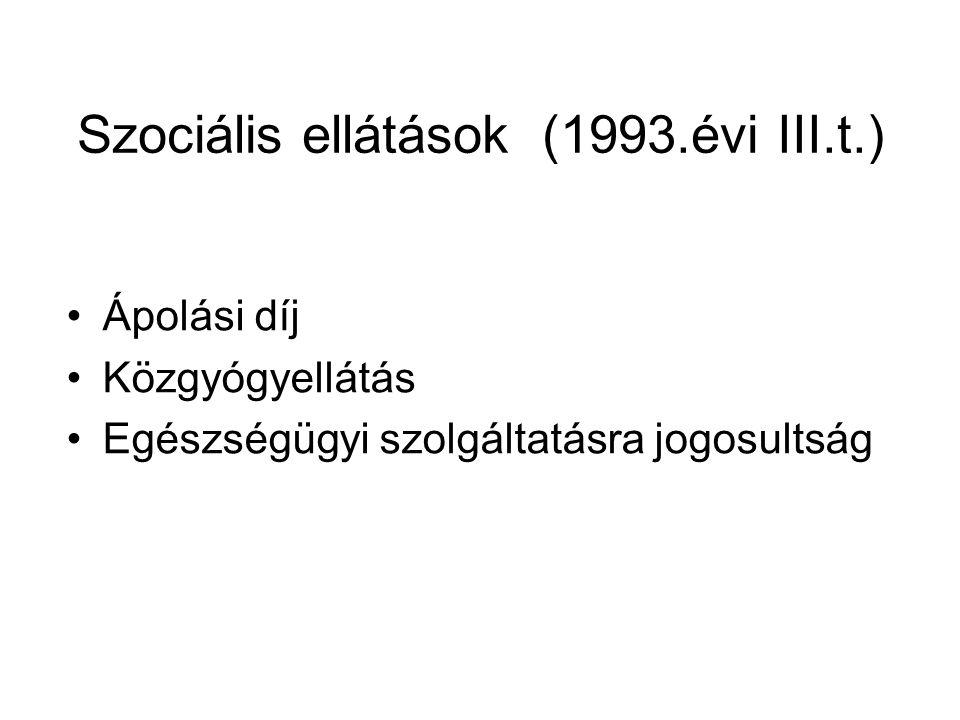 Szociális ellátások (1993.évi III.t.) Ápolási díj Közgyógyellátás Egészségügyi szolgáltatásra jogosultság