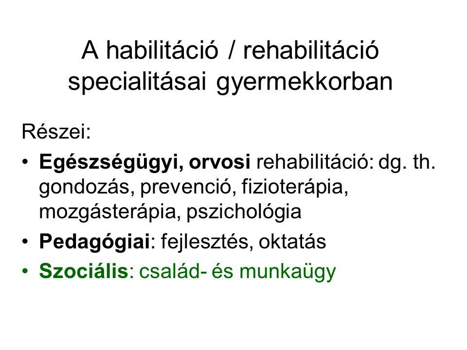A habilitáció / rehabilitáció specialitásai gyermekkorban Részei: Egészségügyi, orvosi rehabilitáció: dg.