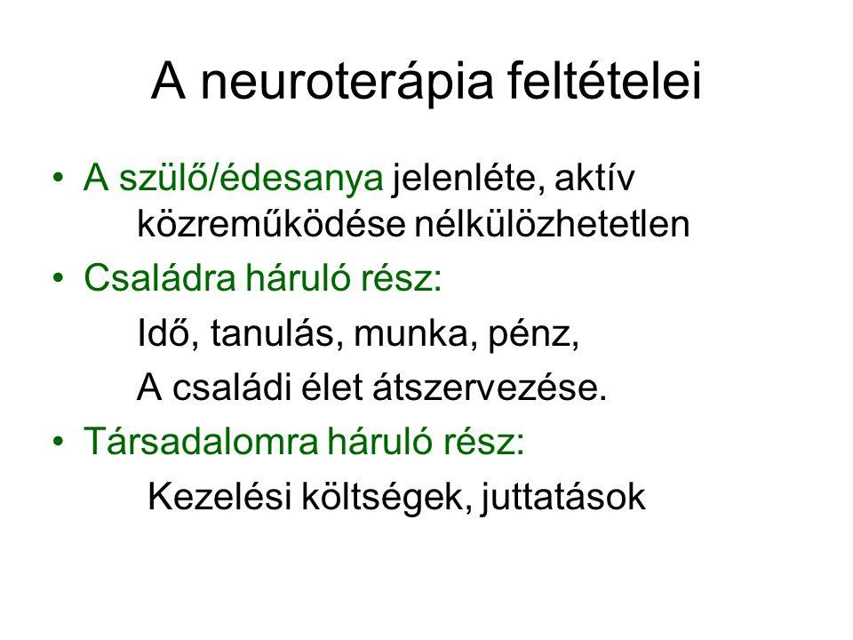 A neuroterápia feltételei A szülő/édesanya jelenléte, aktív közreműködése nélkülözhetetlen Családra háruló rész: Idő, tanulás, munka, pénz, A családi élet átszervezése.
