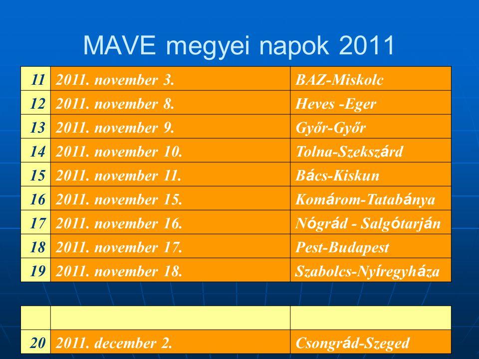 MAVE megyei napok 2011 112011. november 3.BAZ-Miskolc 122011. november 8.Heves -Eger 132011. november 9.Győr-Győr 142011. november 10. Tolna-Szeksz á