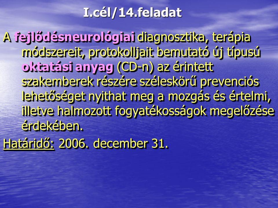 I.cél/14.feladat A fejlődésneurológiai diagnosztika, terápia módszereit, protokolljait bemutató új típusú oktatási anyag (CD-n) az érintett szakembere