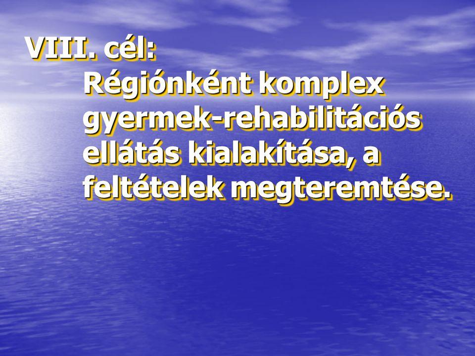 VIII. cél: Régiónként komplex gyermek-rehabilitációs ellátás kialakítása, a feltételek megteremtése.