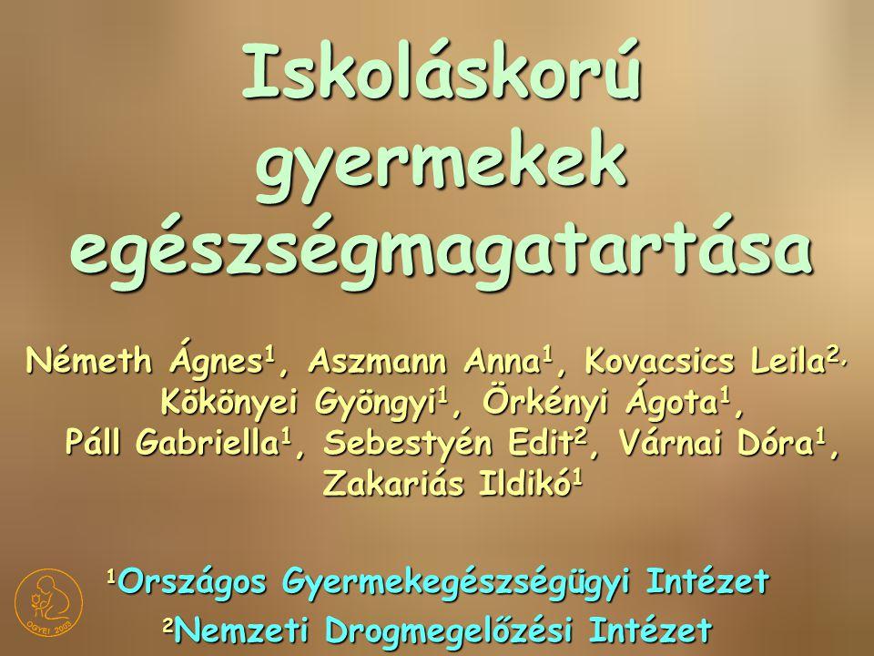 Iskoláskorú gyermekek egészségmagatartása Németh Ágnes 1, Aszmann Anna 1, Kovacsics Leila 2, Kökönyei Gyöngyi 1, Örkényi Ágota 1, Páll Gabriella 1, Se
