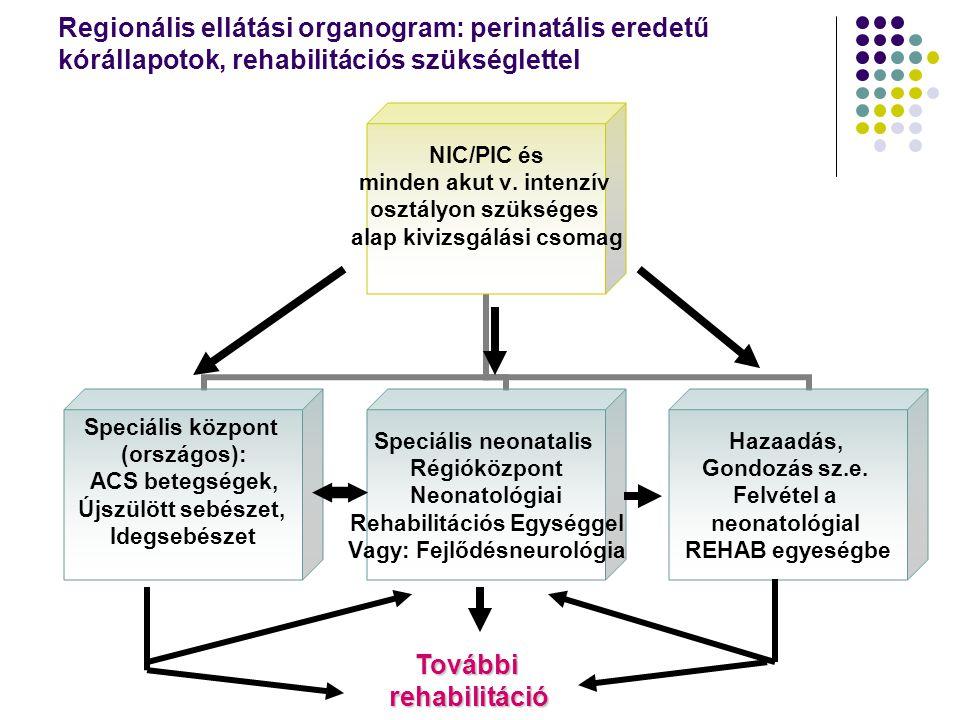 SPECIÁLIS PIC CENTRUM REHABILITÁCIÓS EGYSÉGGEL SPECIÁLIS VIZSGÁLATI ALGORITMUS (AKTÍV OSZTÁLYON) EEG térképezés Akusztikus és vizuális kiváltott válasz Alvás-ébrenlét vezérlés vizsgálata Komplex neurológiai és pszichomotoros tesztvizsgálat Tünetektől függő további vizsgálatok DIAGNÓZIS UTÁN REHABILITÁCIÓS RÉSZLEGBE ÁTHELYEZÉS Funkcionális képességvizsgálatok Neuroteherápia és egyéb terápiák szülők oktatása Távozás előtt: alapvizsgálati vagy a speciális vizsgálatok ismétlése