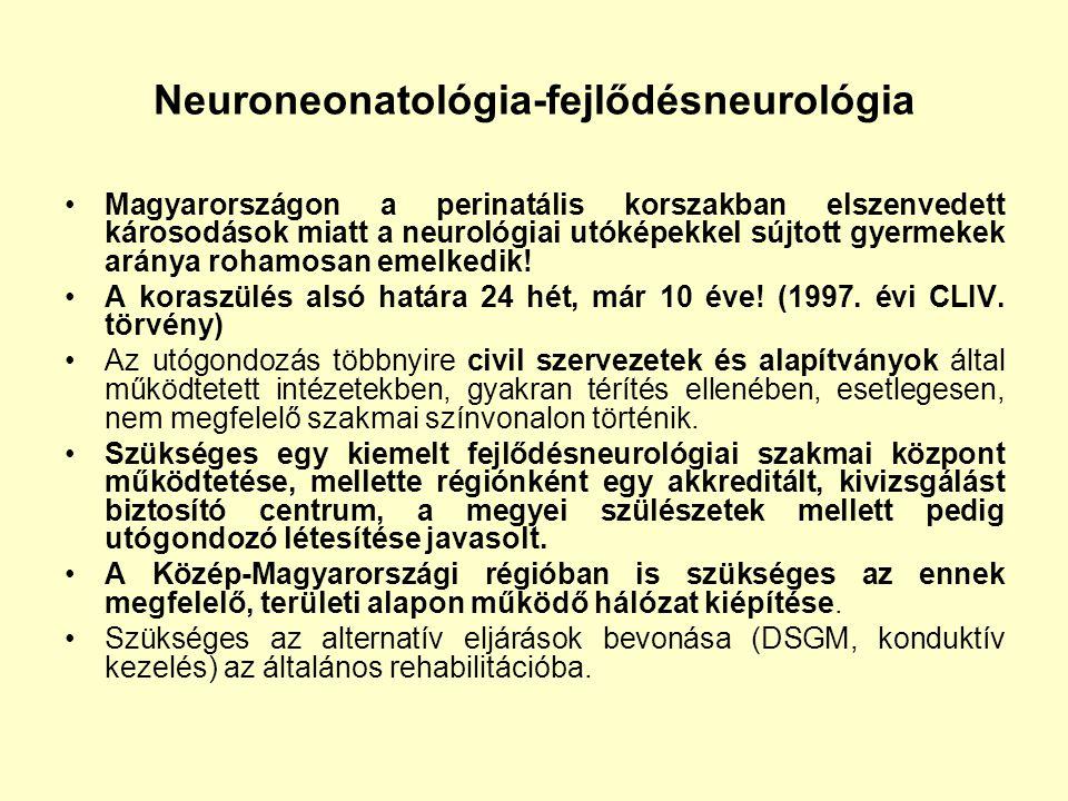 Neuroneonatológia-fejlődésneurológia Magyarországon a perinatális korszakban elszenvedett károsodások miatt a neurológiai utóképekkel sújtott gyermeke