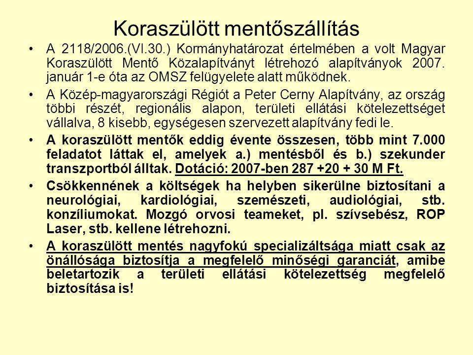 Koraszülött mentőszállítás A 2118/2006.(VI.30.) Kormányhatározat értelmében a volt Magyar Koraszülött Mentő Közalapítványt létrehozó alapítványok 2007
