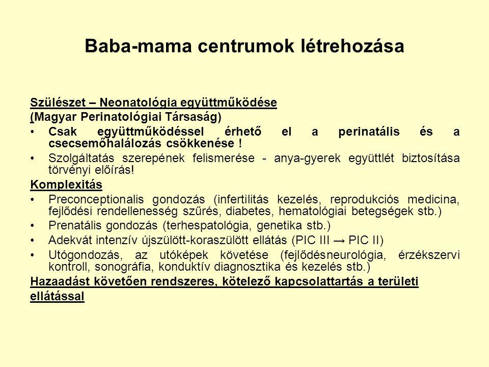 Baba-mama centrumok létrehozása Szülészet – Neonatológia együttműködése (Magyar Perinatológiai Társaság) Csak együttműködéssel érhető el a perinatális
