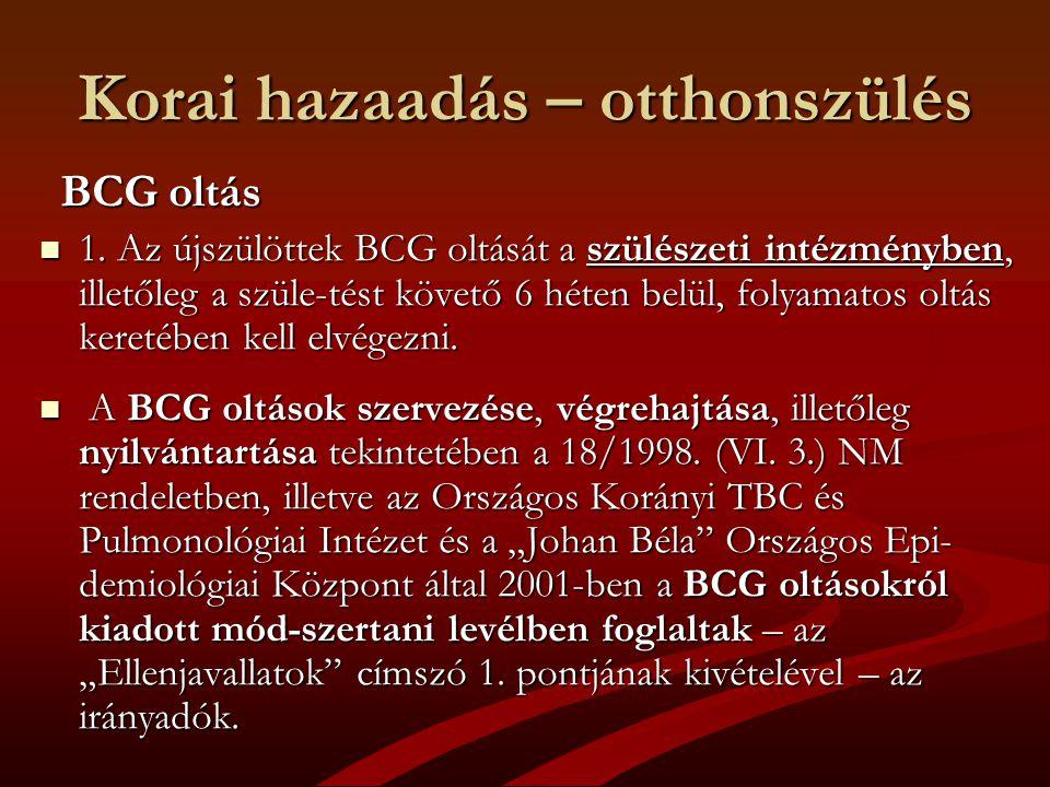 Korai hazaadás – otthonszülés BCG oltás BCG oltás 1. Az újszülöttek BCG oltását a szülészeti intézményben, illetőleg a szüle-tést követő 6 héten belül