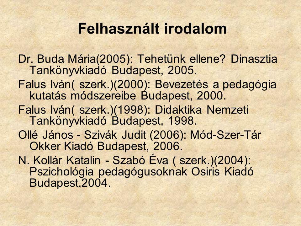 Felhasznált irodalom Dr. Buda Mária(2005): Tehetünk ellene? Dinasztia Tankönyvkiadó Budapest, 2005. Falus Iván( szerk.)(2000): Bevezetés a pedagógia k