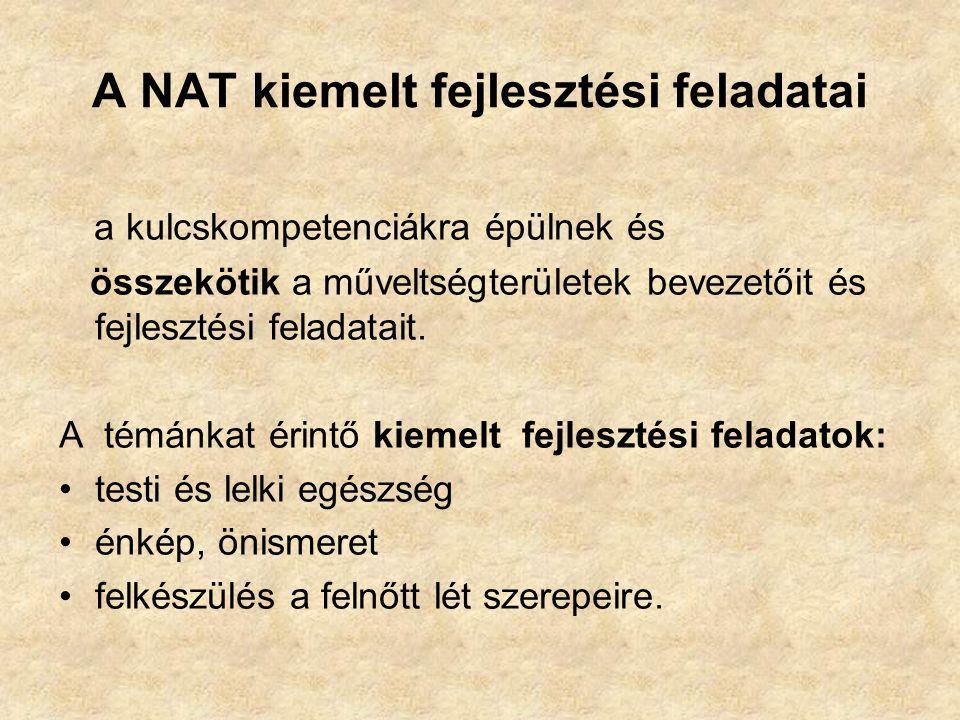 A NAT kiemelt fejlesztési feladatai a kulcskompetenciákra épülnek és összekötik a műveltségterületek bevezetőit és fejlesztési feladatait. A témánkat