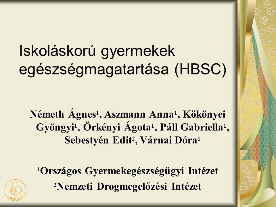 Iskoláskorú gyermekek egészségmagatartása (HBSC) Németh Ágnes 1, Aszmann Anna 1, Kökönyei Gyöngyi 1, Örkényi Ágota 1, Páll Gabriella 1, Sebestyén Edit