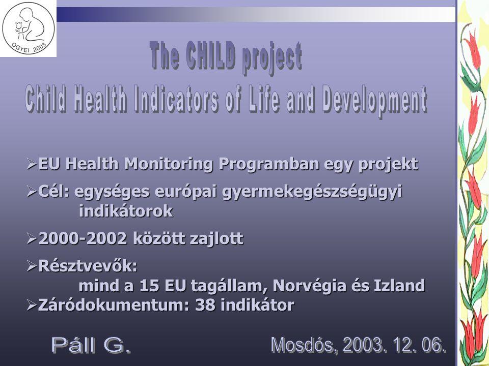  EU Health Monitoring Programban egy projekt  Cél: egységes európai gyermekegészségügyi indikátorok  2000-2002 között zajlott  Résztvevők: mind a 15 EU tagállam, Norvégia és Izland mind a 15 EU tagállam, Norvégia és Izland  Záródokumentum: 38 indikátor