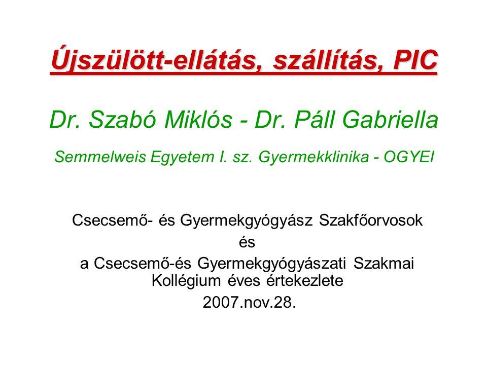Újszülött-ellátás, szállítás, PIC Újszülött-ellátás, szállítás, PIC Dr. Szabó Miklós - Dr. Páll Gabriella Semmelweis Egyetem I. sz. Gyermekklinika - O