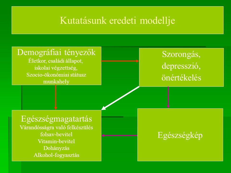 Kutatásunk eredeti modellje Demográfiai tényezők Életkor, családi állapot, iskolai végzettség, Szocio-ökonómiai státusz munkahely Egészségmagatartás V