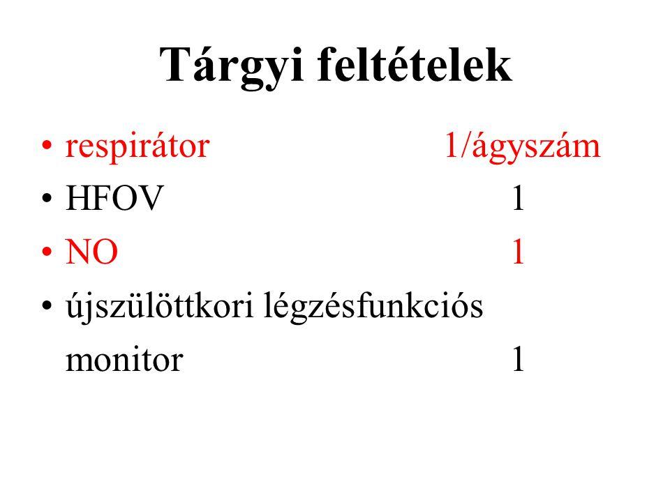 Tárgyi feltételek respirátor1/ágyszám HFOV1 NO1 újszülöttkori légzésfunkciós monitor1