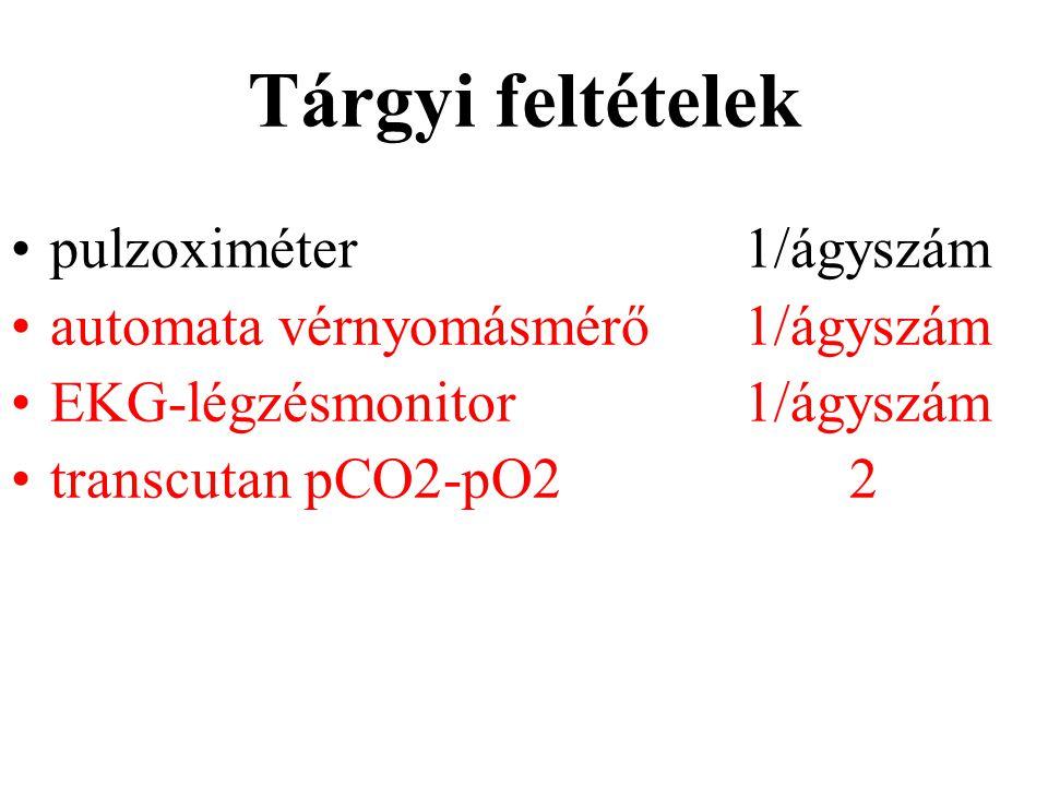 Tárgyi feltételek pulzoximéter1/ágyszám automata vérnyomásmérő1/ágyszám EKG-légzésmonitor1/ágyszám transcutan pCO2-pO22