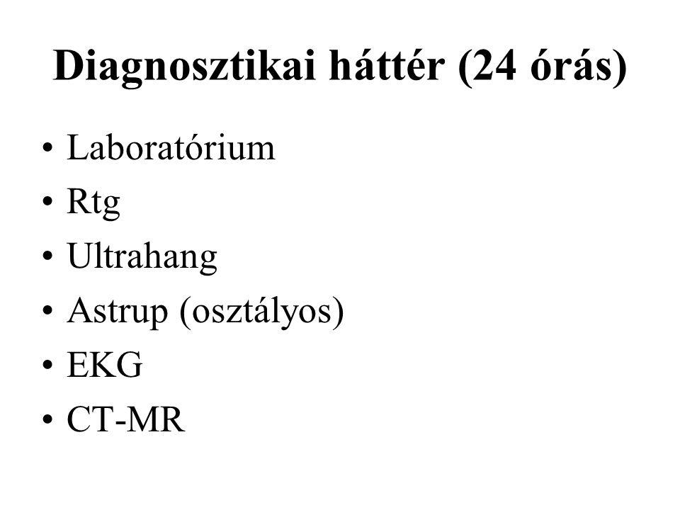 Diagnosztikai háttér (24 órás) Laboratórium Rtg Ultrahang Astrup (osztályos) EKG CT-MR