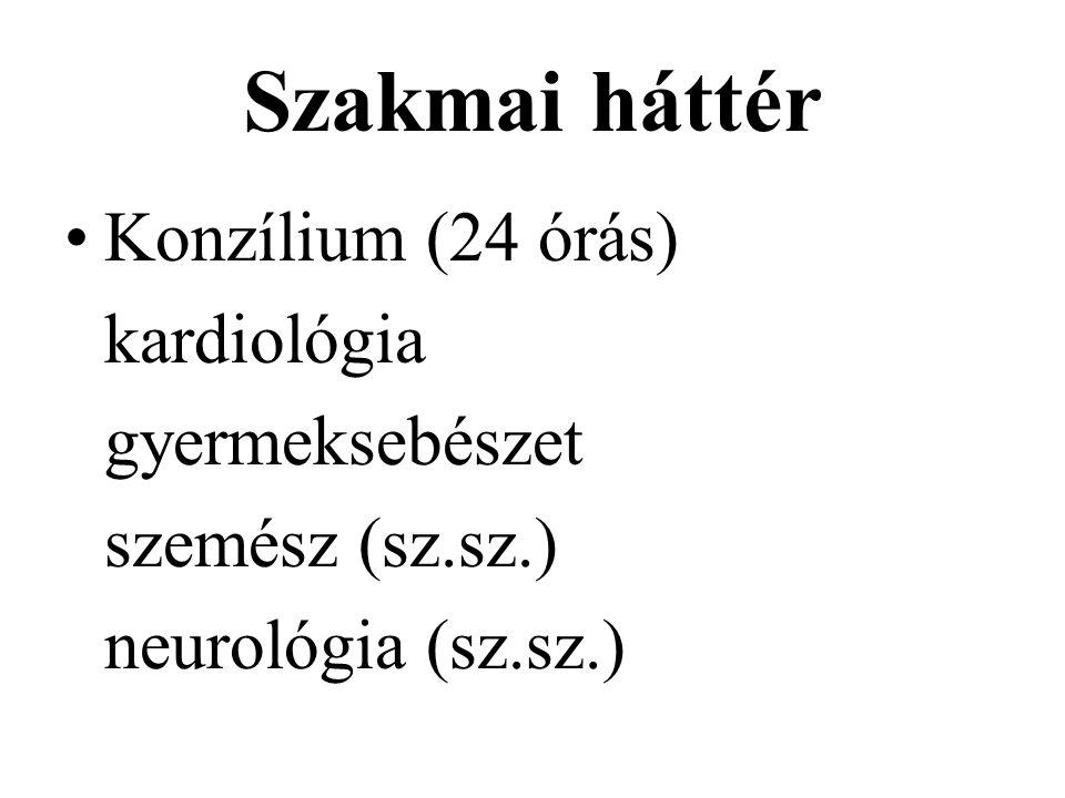 Szakmai háttér Konzílium (24 órás) kardiológia gyermeksebészet szemész (sz.sz.) neurológia (sz.sz.)