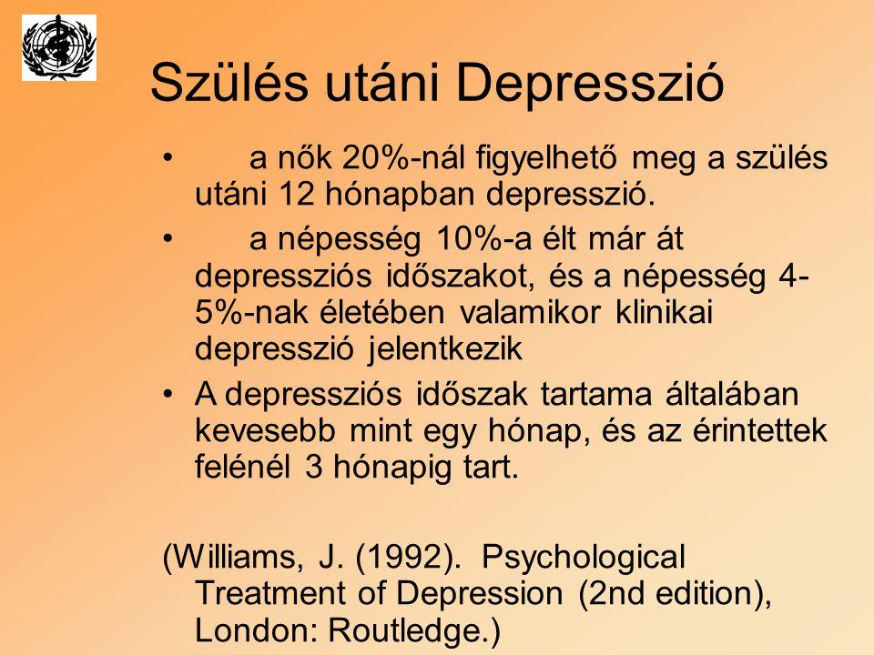Szülés utáni Depresszió a nők 20%-nál figyelhető meg a szülés utáni 12 hónapban depresszió. a népesség 10%-a élt már át depressziós időszakot, és a né
