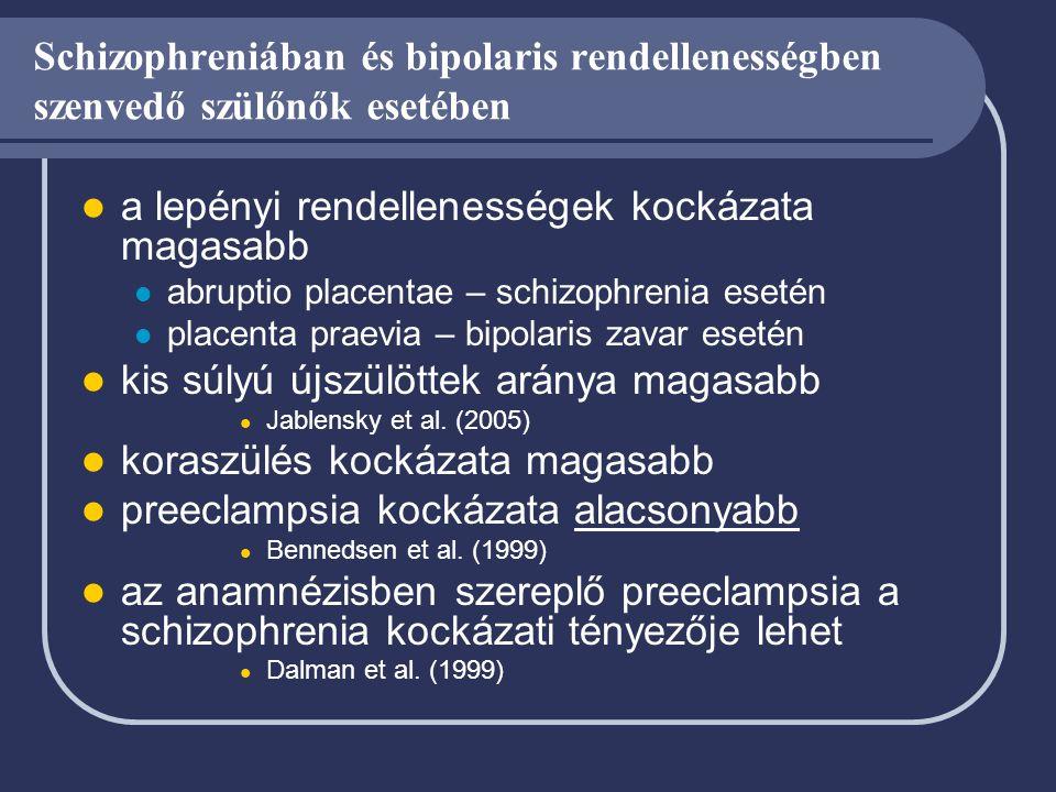 Schizophreniában és bipolaris rendellenességben szenvedő szülőnők esetében a lepényi rendellenességek kockázata magasabb abruptio placentae – schizoph