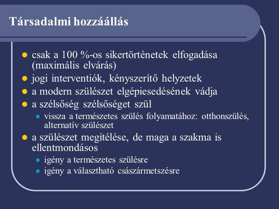 Aktív fázis Definíció Cervix dilatatio > 4 cm Rendszeres contractiók Élettani: Primiparák esetében Cervix dilatatio : >1.2 cm/óra A magzat descensusa: >1 cm/óra Multiparák esetében Cervix dilatatio : >1.5 cm/óra A magzat descensusa : >2 cm/óra Ellátás Burokrepesztés, oxytocinos fájástámogatás (aktív szülésvezetés) mérlegelése Szülési fájdalomcsillapítás alkalmazása