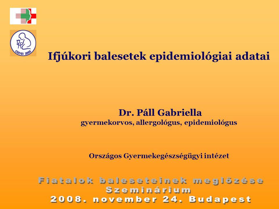 Ifjúkori balesetek epidemiológiai adatai Dr. Páll Gabriella gyermekorvos, allergológus, epidemiológus Országos Gyermekegészségügyi intézet