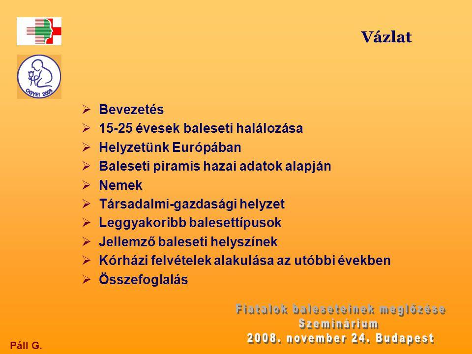 Külső halálok következtében meghaltak abszolút száma Magyarországon 15-24 éves korban nemenként, 2007 Életkor (év) FiúLányÖsszes 15-1911738155 20-2417141212 Összesen28879367
