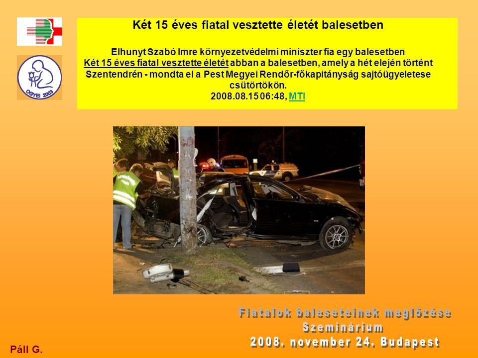 Páll G. Két 15 éves fiatal vesztette életét balesetben Elhunyt Szabó Imre környezetvédelmi miniszter fia egy balesetben Két 15 éves fiatal vesztette é