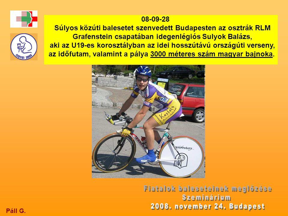 Páll G. 08-09-28 Súlyos közúti balesetet szenvedett Budapesten az osztrák RLM Grafenstein csapatában idegenlégiós Sulyok Balázs, aki az U19-es koroszt