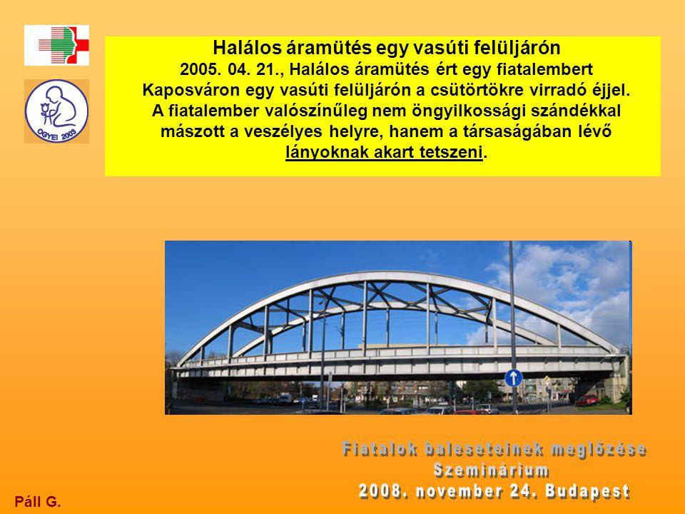 Páll G. Halálos áramütés egy vasúti felüljárón 2005. 04. 21., Halálos áramütés ért egy fiatalembert Kaposváron egy vasúti felüljárón a csütörtökre vir