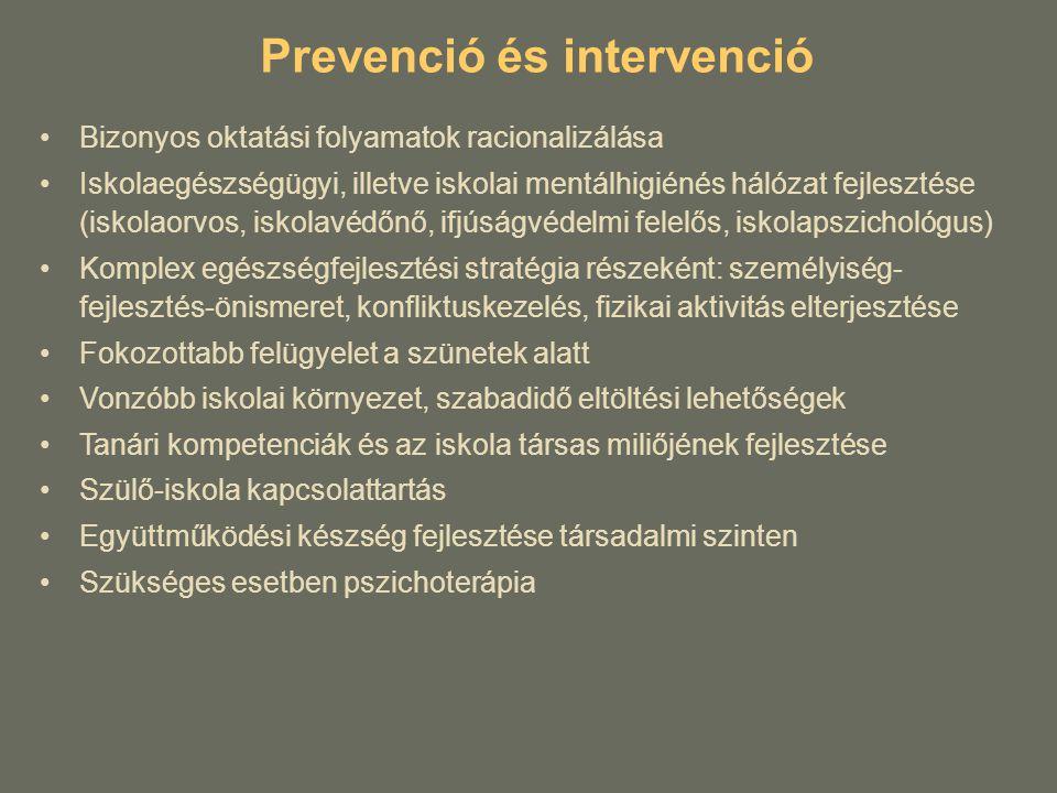 Prevenció és intervenció Bizonyos oktatási folyamatok racionalizálása Iskolaegészségügyi, illetve iskolai mentálhigiénés hálózat fejlesztése (iskolaor
