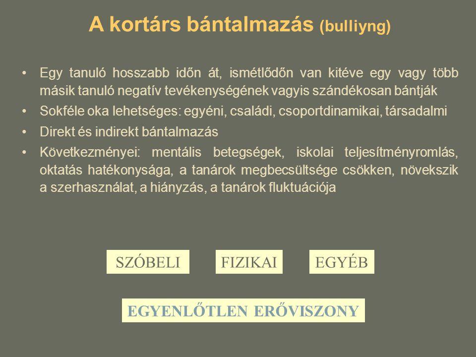 A kortárs bántalmazás (bulliyng) Egy tanuló hosszabb időn át, ismétlődőn van kitéve egy vagy több másik tanuló negatív tevékenységének vagyis szándéko