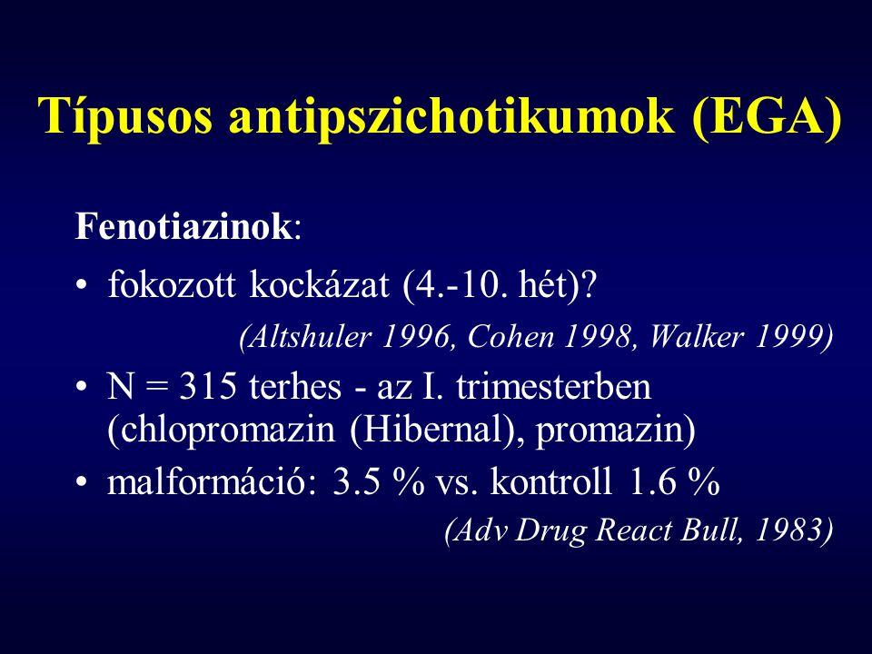 Típusos antipszichotikumok (EGA) Fenotiazinok: fokozott kockázat (4.-10. hét)? (Altshuler 1996, Cohen 1998, Walker 1999) N = 315 terhes - az I. trimes