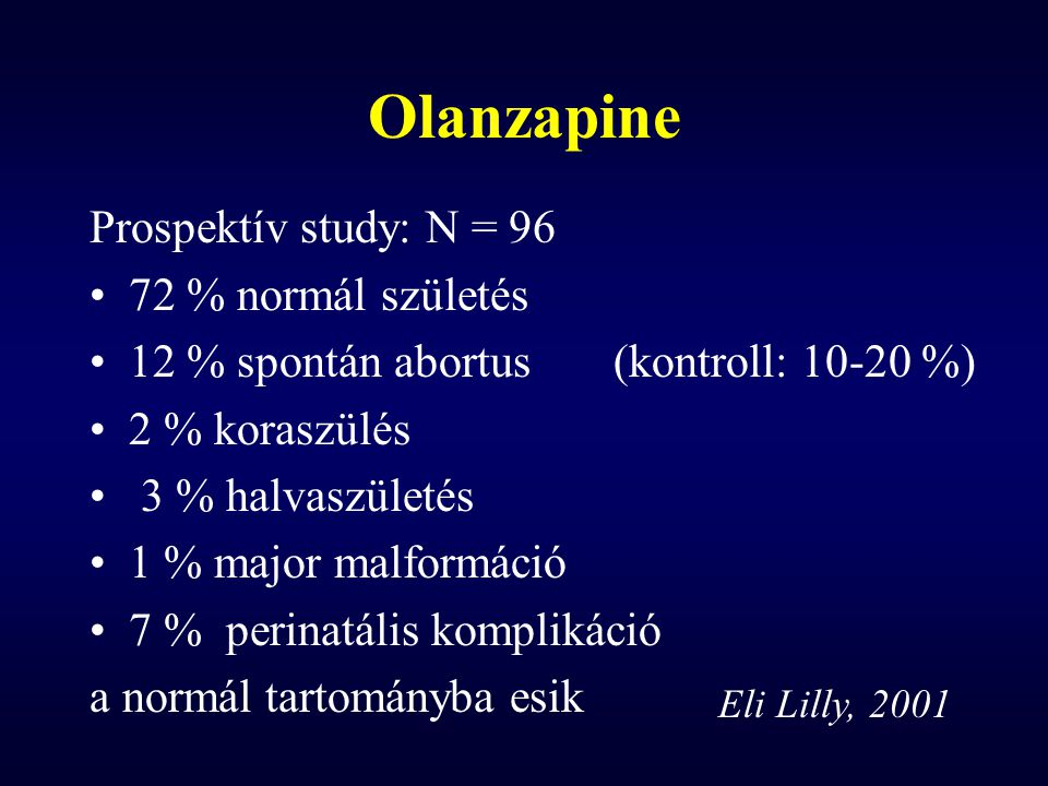 Olanzapine Prospektív study: N = 96 72 % normál születés 12 % spontán abortus(kontroll: 10-20 %) 2 % koraszülés 3 % halvaszületés 1 % major malformáci