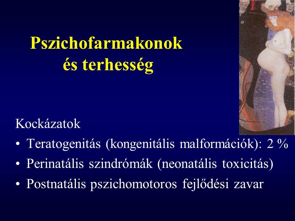 Pszichofarmakonok és terhesség Kockázatok Teratogenitás (kongenitális malformációk): 2 % Perinatális szindrómák (neonatális toxicitás) Postnatális psz