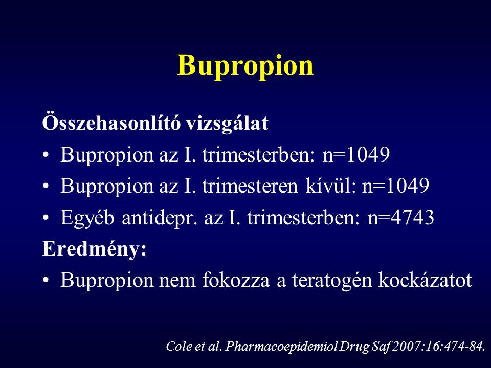 Bupropion Összehasonlító vizsgálat Bupropion az I. trimesterben: n=1049 Bupropion az I. trimesteren kívül: n=1049 Egyéb antidepr. az I. trimesterben: