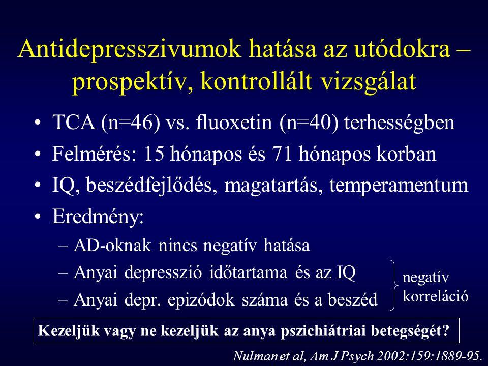 Antidepresszivumok hatása az utódokra – prospektív, kontrollált vizsgálat TCA (n=46) vs. fluoxetin (n=40) terhességben Felmérés: 15 hónapos és 71 hóna