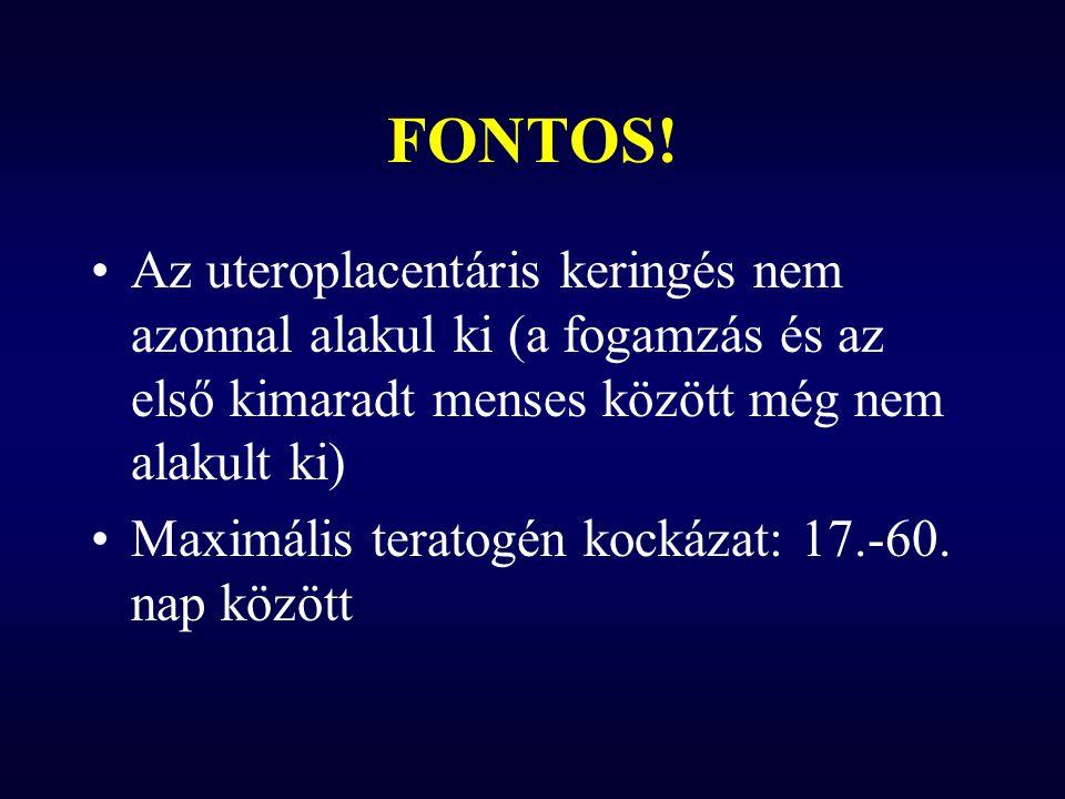 Anxiolitikumok – Benzodiazepinek Ajak- és szájpadhasadék – kismértékben (11:10.000 vs.