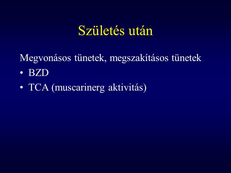 Születés után Megvonásos tünetek, megszakításos tünetek BZD TCA (muscarinerg aktivitás)