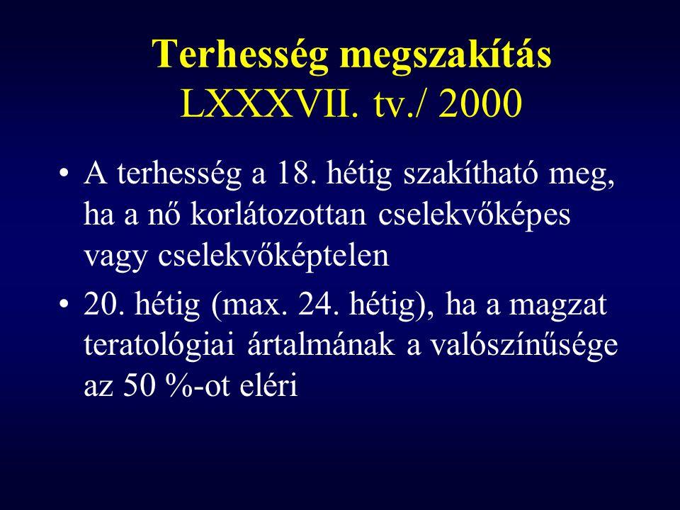Terhesség megszakítás LXXXVII. tv./ 2000 A terhesség a 18. hétig szakítható meg, ha a nő korlátozottan cselekvőképes vagy cselekvőképtelen 20. hétig (