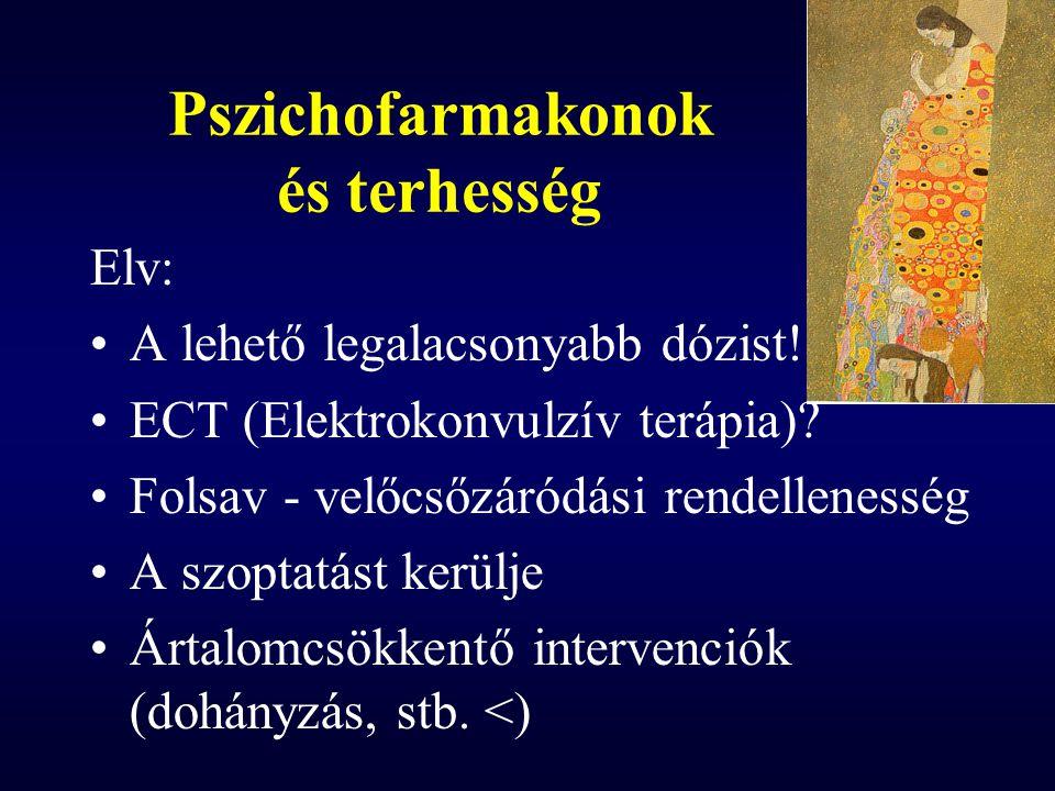 Pszichofarmakonok és terhesség Elv: A lehető legalacsonyabb dózist! ECT (Elektrokonvulzív terápia)? Folsav - velőcsőzáródási rendellenesség A szoptatá