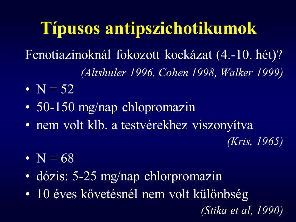 Típusos antipszichotikumok Fenotiazinoknál fokozott kockázat (4.-10. hét)? (Altshuler 1996, Cohen 1998, Walker 1999) N = 52 50-150 mg/nap chlopromazin