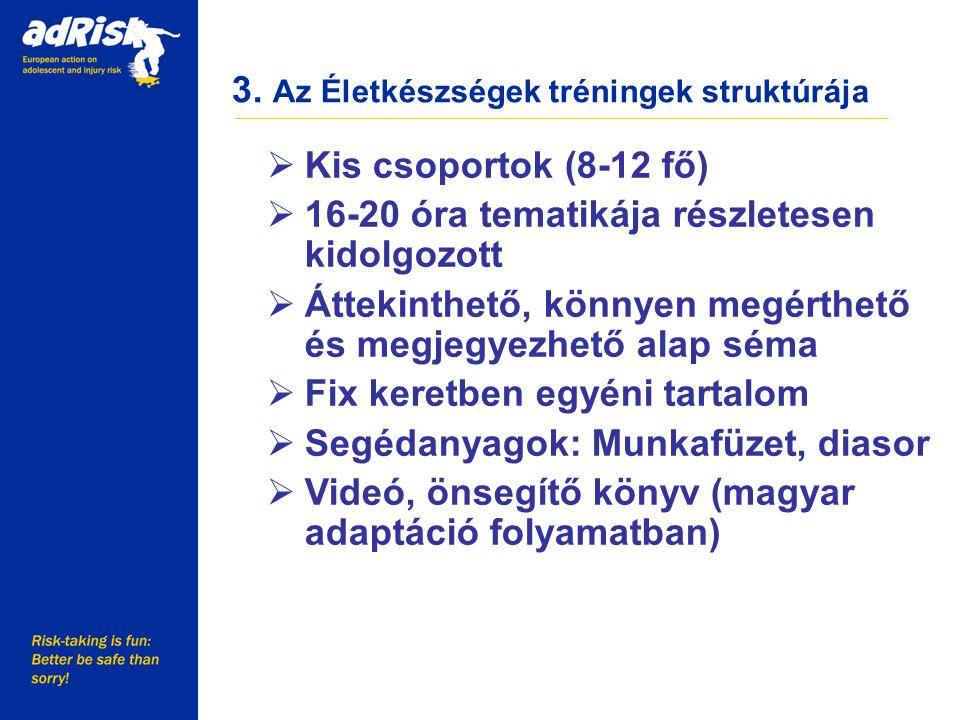 3. Az Életkészségek tréningek struktúrája Working together to make Europe a safer place  Kis csoportok (8-12 fő)  16-20 óra tematikája részletesen k